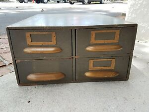 Antique Card Catalog Tabletop Cabinet Boyton Company Chicago Illinois