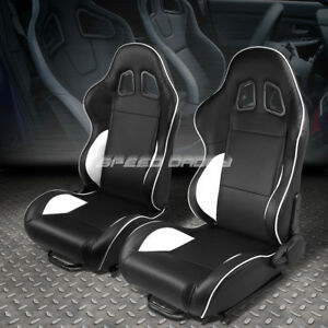 Pair Black white Piping Fully Reclinable Pvc Leather Type r Racing Seat W slider
