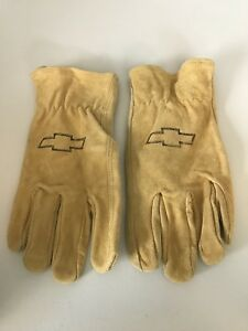 Wells Lamont Leather Work Gloves Stamped Chevrolet Emblem Logo Size Large