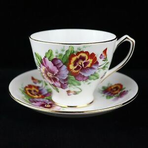 Vintage Bone China Made In England Cup Saucer With Pansies Pattern Gold Trim