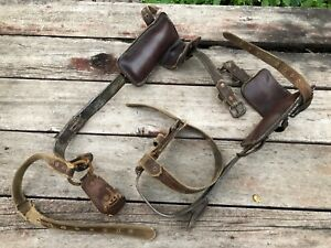 Vtg Old Tree Pole Climbers Spikes Gaffs Set Leather Iron