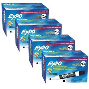 Expo 80001 Low Odor Chisel Point Dry Erase Markers Black 12 Units Per Box Pa