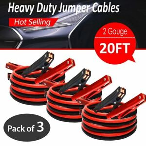 3pk Comercial Heavy Duty 600 Amp Clamps 20 Ft 2 Gauge Booster Jumper Cables