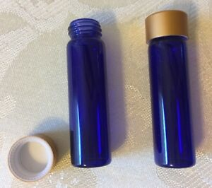 2 Dram 1 4 Oz Cobalt Blue Glass Bottle Vial W Matte Gold Cap Pkg Of 100