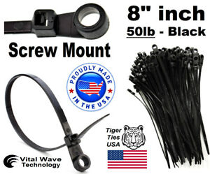 1000 Screw Hole Mount 8 Inch Wire Cable Ties Nylon Tie Wrap 50lb Black Usa Made