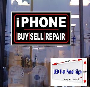 Iphone Buy Sell Repair 48x24 Led Flat Panel Light Box Window Sign