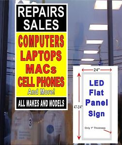 Repair Sales Computers Laptops Macs Cellphone Led Window Light Box Sign 48x24