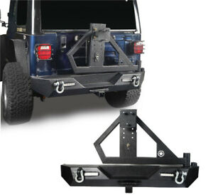 Rear Bumper W Spare Tire Carrier Receiver Hitches For Jeep Wrangler Tj 97 06