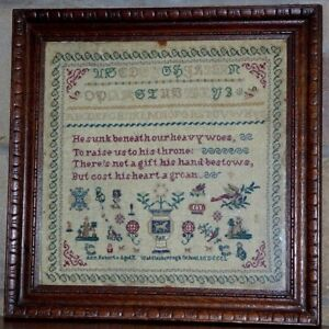 Early Victorian Sampler Worked In Silk On Linen Dated 1850