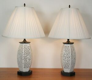 Antique Blanc De Chine Articulated Hollywood Regency Pair Table Lamps Midcentury