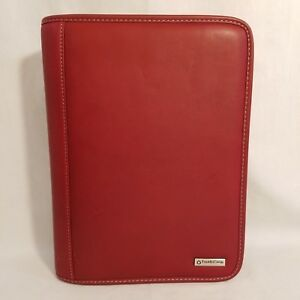 Red Leather Classic Franklin Covey Zip Organizer Planner Address And Note Pages