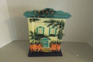 Vintage Wood Key Box With Hand Painted Art On Outside Swing Open Door