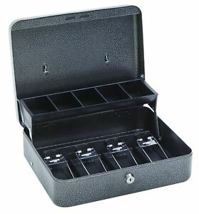 Hercules Cb1210 Key Locking Cash Box With 5 Compartment Tray 11 75 X 10 X 4