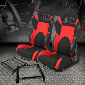 Pair Of Woven Fabric Fully Reclinable Racing Seat Bracket For 88 91 Honda Crx