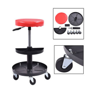 Mechanics Roller Creeper Seat Work Garage Repair Rolling Stool Tray