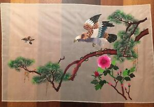 Vintage Large Chinese Silk Embroidery Panel Eagle Bird Tree Unframed 26 5 X 17