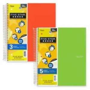 Mead Trend Notebooks Perforated 5 subject 200 sht Assorted Sold As 2