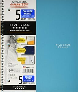 Mead Five Star Spiral Notebook 5 Subject 8 5 X 11 200 Sheets 2 Pack 6208