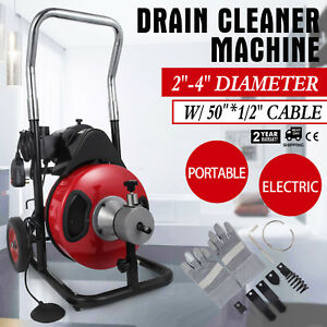 50ft 1 2 Drain Auger Pipe Cleaner Machine Plumbing Cleaning Tool For 2 4 pipe