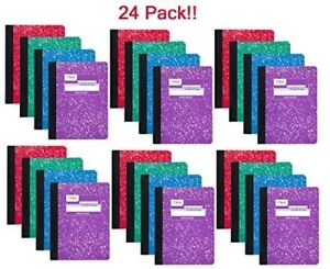 Mead 09918 Composition Book 100 Sheets Wide Ruled Assorted Colors 24 Pack