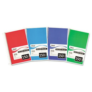 Spiral Bound Notebook College Rule 6 X 9 1 2 White 3 Subject 150 Sheets As