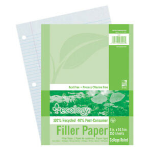Ecology Recycled Filler paper Pk College Ruled 12 Pk 3204