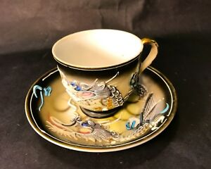 Vintage Emerson China Dragon Tea Cup And Saucer Hand Painted Dragon Extra Cup