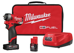 Milwaukee Electric Tool 2552 22 M12 Fuel Stubby 1 4 Impact Wrench Kit New
