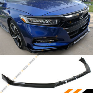 For 2018 2019 Honda Accord Jdm 3pc Style Glossy Black Front Bumper Lip Splitter
