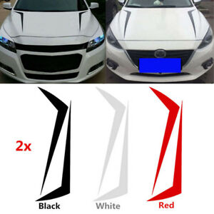 1pair Car Racing Spikes Spears Stripe Hood Decals Vinyl Decor Stickers 90cm