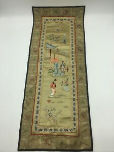 Antique Silk Chinese Embroidery Vintage Don Huang Women Flowers Rectangle