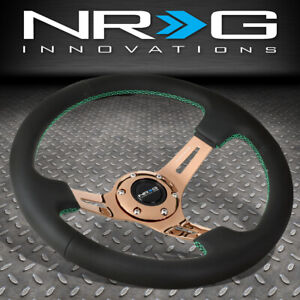 Nrg 350mm 3 Deep Dish Rose Gold Spoke Green Stitch Leather Grip Steering Wheel