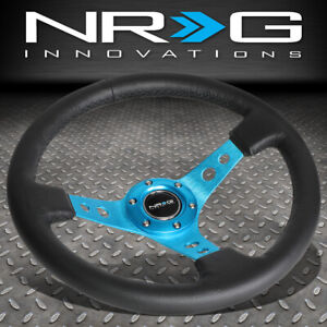 Nrg 350mm 3 Deep Dish New Blue Spoke Leather Grip Steering Wheel W Horn Button