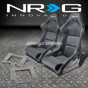 Nrg Fiberglass Bucket Racing Seats Stainless Steel Bracket For Mk4 Golf Jetta