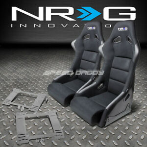 Nrg Fiberglass Bucket Racing Seats T304 Steel Mount Bracket For Mk4 Golf Jetta
