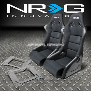 Nrg Fiberglass Bucket Racing Seats T304 Steel Mount Bracket For 94 01 Integra Dc