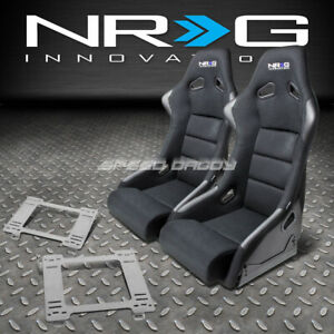 Nrg Fiberglass Bucket Racing Seats T304 Steel Mount Bracket For 90 97 Mx5 Miata