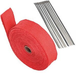 2 50feet Red Roll Fiberglass Exhaust Header Pipe Heat Wrap Tape 10 Zip Ties