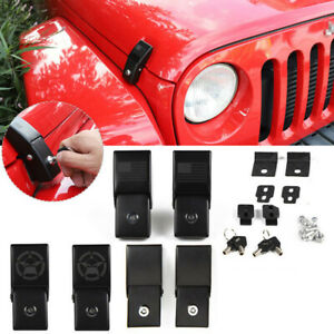 Stainless Steel Hood Lock Catch Latches Kit For Jeep Wrangler Jk Unlimited 2007