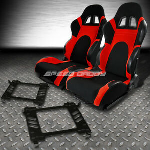 Black red Trim Reclinable Racing Seats bracket For 06 11 Honda Civic Fa fg1 f