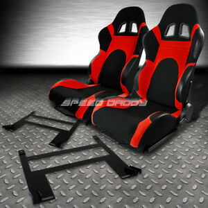 Black Red Trim Reclinable Racing Seats Low Mount Bracket For 05 10 Chevy Cobalt