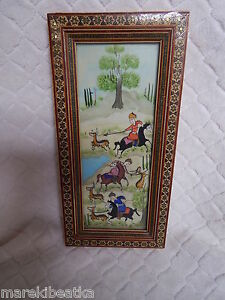 Antique Persian Miniature Hunting Scene Painting Khatam Marquetry Frame