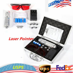 Laser Pointer Blue 450nm Pen 5x Head case battery charger goggles Gatling Set