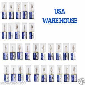 30pcs Usa Mixed Dental Tungsten Carbide Burs Drill 2 35mm For Marathon Handpiece