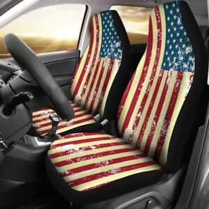 Vintage Style Usa Flag Car Seat Covers Set Of 2 Front Seat Covers Gift