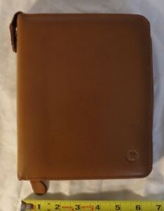 Franklin Covey Compact Tan Genuine Leather Full zip Planner binder