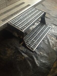Folding Reese Hitch Bed Step Work Truck Trailer Fire Rescue Heavy Duty 18