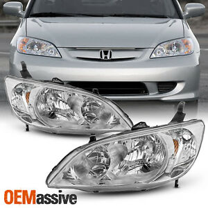 Fits 2004 2005 Honda Civic Left Right Side Headlights Front Lamps Pair 04 05