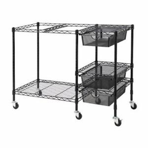 Vertiflex Mobile File Cart With 3 Drawers 38 X 15 5 X 28 Inches Black
