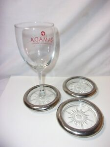 Silver Plated Glass Vintage Drink Wine Coaster Set Of 3